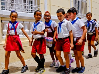 All schoolkids in Cuba wear the same uniform. No in-school fashion shows.